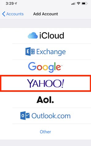 add yahoo email account iphone