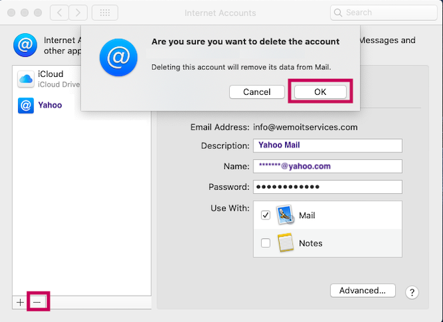 how to remove Yahoo mail from Mac